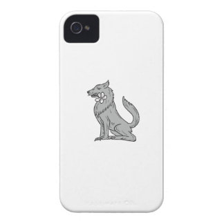 Timber Wolf Sitting Plumeria Flower Drawing iPhone 4 Case