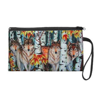 Timber Wolves in autum Wristlet