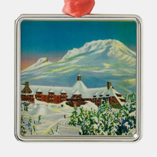 Timberline Lodge in Winter at Mt. Hood Christmas Ornaments