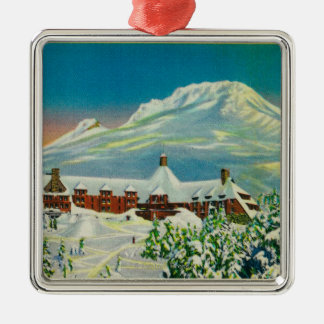 Timberline Lodge in Winter at Mt. Hood Silver-Colored Square Decoration
