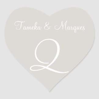 Timberwolf Customizable Monograms Wedding Heart Sticker