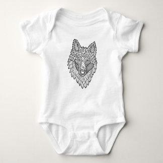 Timberwolf Line Art Design Baby Bodysuit