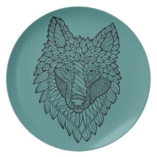 Timberwolf Line Art Design Plate