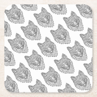 Timberwolf Line Art Design Square Paper Coaster