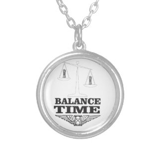 time balance tip silver plated necklace