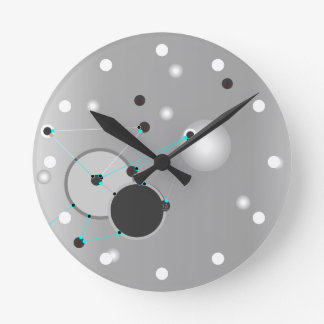 TIME CONNECTIONS | gray abstract Round Clock