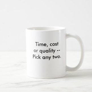 Time, cost or quality --Pick any two., Time, co... Coffee Mug