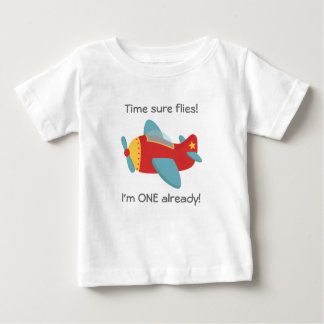Time flies, Cute Aeroplane, I'm One, 1st Birthday Baby T-Shirt