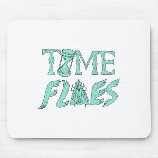 Time Flies Drawing Mouse Pad