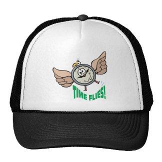 Time Flies ~ Flying Alarm Clock Word Play Mesh Hats