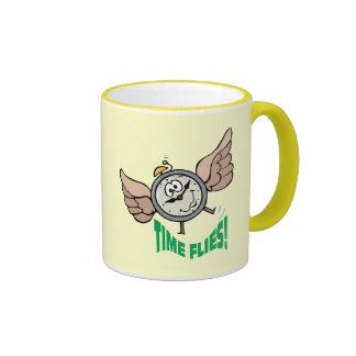 Time Flies ~ Flying Alarm Clock Word Play Coffee Mug