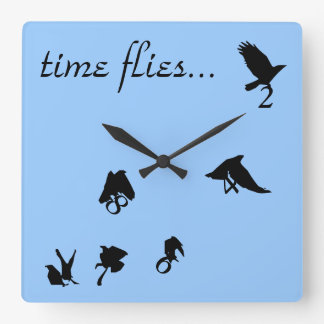 """Time Flies"" Flying Crows Clock"