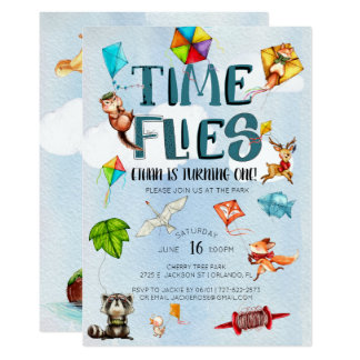Time Flies   Kite Themed 1st Birthday Party Card