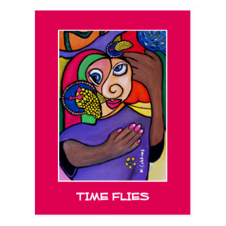 Time Flies On Bright Pink  - Time Pieces Postcard