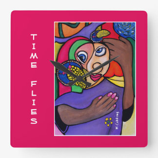 Time Flies Time Pieces Bright Colors Square Wall Clock
