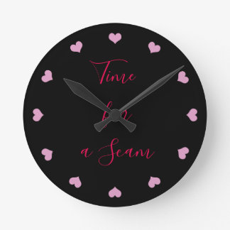 Time for A scam black and pink clock with hearts