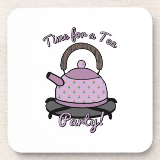 Time For A Tea Party Beverage Coasters