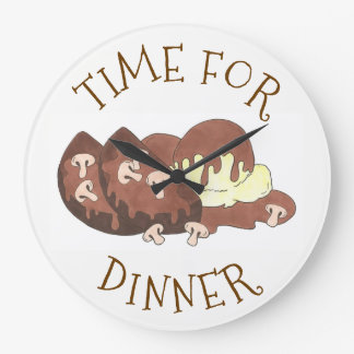 Time for Dinner Mashed Potates Meatloaf Gravy Food Large Clock