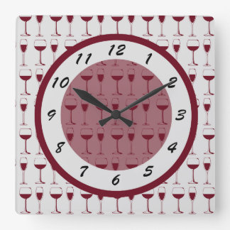 Time for Red Wine Square Wall Clock