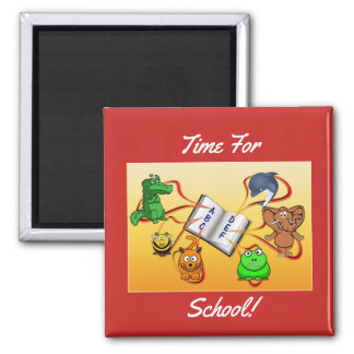 Time For School Square Magnet