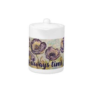 Time for Tea Floral Watercolor Small Tea Pot