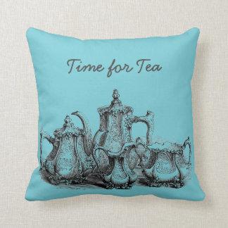 Time For Tea Vintage Teapot Throw Pillow
