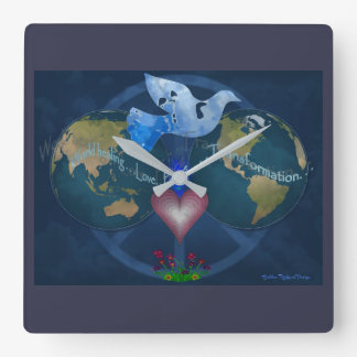 Time for World Peace Square Wall Clock