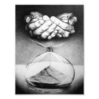 """Time"" hourglass pencil drawing Photo print"