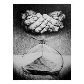 """Time"" hourglass pencil drawing poster"