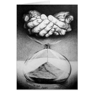 """Time"" hourglass surreal drawing Greeting cards"