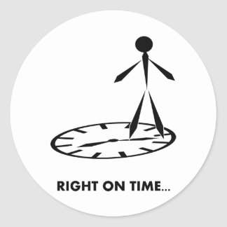 Time Idioms Series - Right on Time Round Sticker