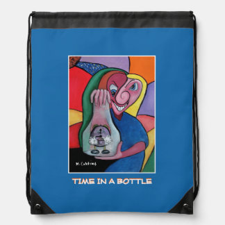 Time In A Bottle - Blue -Time  Pieces Drawstring Bag