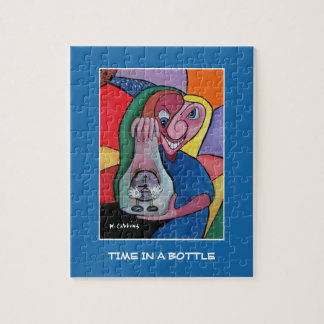 Time In A Bottle On Blue - Time Pieces Jigsaw Puzzle