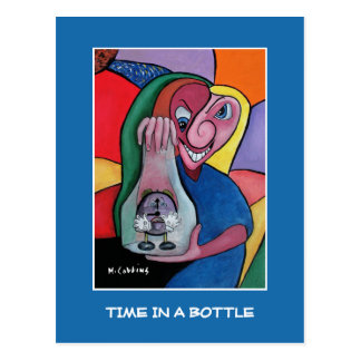 Time In A Bottle On Blue - Time Pieces Postcard