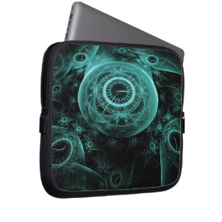 Time in Blue on Black Laptop Sleeve