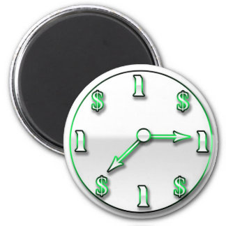 Time is Money 6 Cm Round Magnet