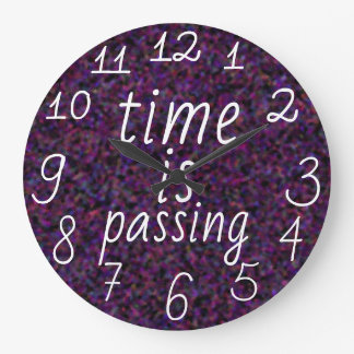 Time is passing Purple Madness Abstract Large Clock