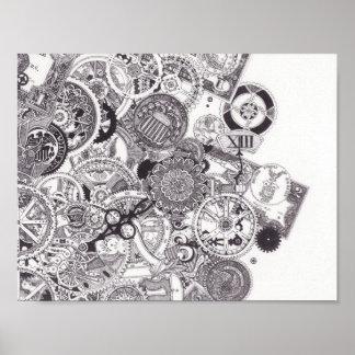 Time & Money - Black & White Steampunk Poster