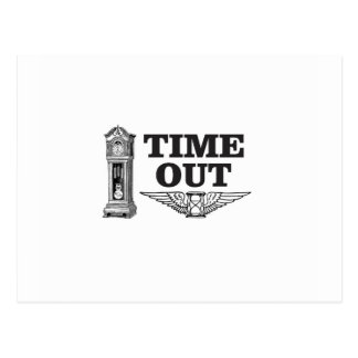 time out clock postcard