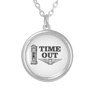 time out clock silver plated necklace