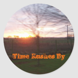 Time Rushes By Round Sticker