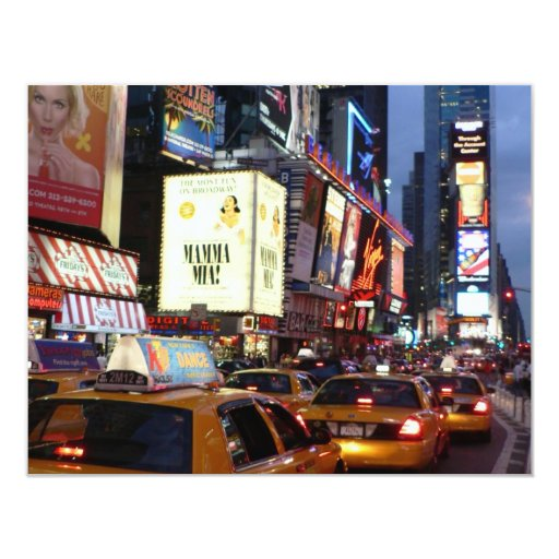 Time Square Taxis 11 Cm X 14 Cm Invitation Card
