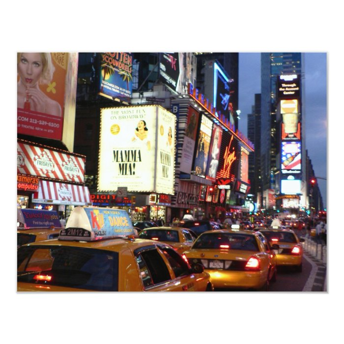 Time Square Taxis 11 Cm X 14 Cm Invitation Card