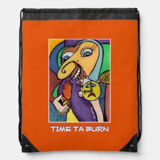 Time Ta Burn - Orange - Time  Pieces Drawstring Bag