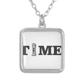 time tells silver plated necklace