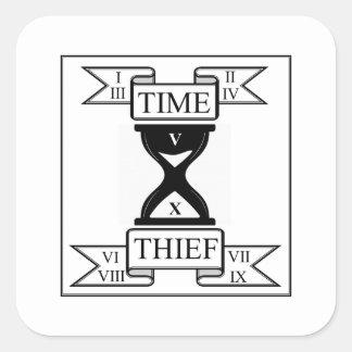 Time Thief with Roman Numerals Square Sticker