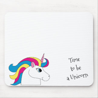 Time to be a Unicorn Mouse Pad with Text