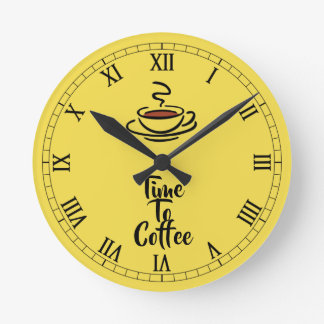 Time To Coffee Wall Clock Round (Medium)