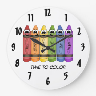 Time To Color Crayon Large Clock