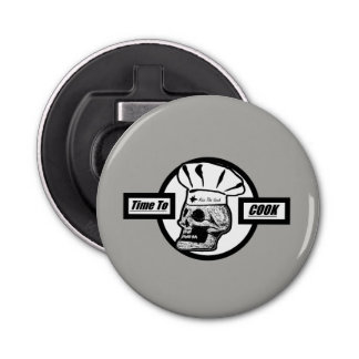 Time to Cook - Black & White Graphic Logo Bottle Opener